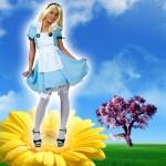 Costume et déguisement de alice au pays des merveilles bleu et blanc