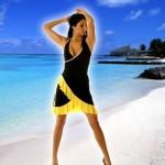 Costume et déguisement robe sexy noir et jaune plage decolleté