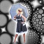 Costume et déguisement de yéyé année 60 robe a pois noir et blanc
