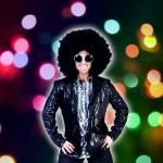 Costume et déguisement de disco paillette années 80 années 70 années 60 veste strass brillant brille brillante paillette noir