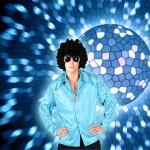 Costume et déguisement de disco paillette années 80 années 70 années 60 strass brillant brille brillante paillette bleu