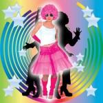 Costume et déguisement de disco paillette années 80 années 70 années 60 jupe rose