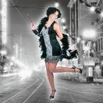 Costume et déguisement de disco paillette années 80 années 70 années 60 strass brillant brille brillante paillette noir argent charleston