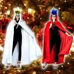 Costume et déguisement de cape blanche rouge noel