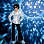 Costume et déguisement de disco paillette années 80 années 70 années 60 strass brillant brille brillante paillette argent gris