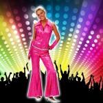 Costume et déguisement de disco paillette années 80 années 70 années 60 strass brillant brille brillante paillette rose