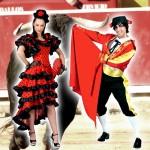 Costume et déguisement de espagnol espagnole espagne torero feria arene corida corrida danseuse de tango chacha rouge et noir
