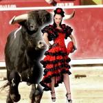 Costume et déguisement de espagnole rouge tango rouge et noir danseuse chacha roxanne