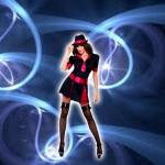Costume et déguisement sexy robe noir et rouge agent secret