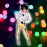Costume et déguisement de disco paillette années 80 années 70 années 60 strass brillant brille brillante paillette argent jaune or