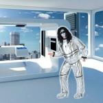 Costume et déguisement de futur futuriste an 2000 gris argent robot