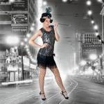 Costume et déguisement de disco paillette années 80 années 70 années 60 strass brillant charleston brille brillante paillette noir