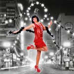 Costume et déguisement de disco paillette années 80 années 70 années 60 strass brillant brille brillante paillette rouge