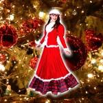 Costume et déguisement de mere noel longue rouge fete
