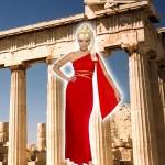 Costume et déguisement de aphrodite grecque robe rouge déesse grèce