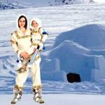 Costume et déguisement de inuit esquimaux froid glace igloo polaire nord blanc combinaison