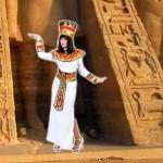 Costume et déguisement de pyramide pharaon Néfertiti cléopatre egyptienne egypte blanc et or