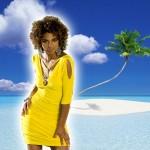 Costume et déguisement de plage jaune robe sexy