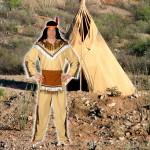 costume et déguisement d'indien peau rouge tipi marron