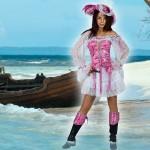 Costume et déguisement de pirate femme rose et blanc