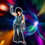 Costume et déguisement de disco paillette années 80 années 70 années 60 strass brillant brille brillante paillette noir multicolor