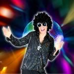 Costume et déguisement de disco paillette années 80 années 70 années 60 strass brillant brille brillante paillette noir