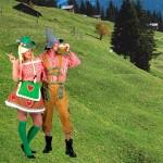 Costume et déguisement de tyrolien tyrole tyrolienne oktoberfest montagnard montagne montagnarde rouget et vert suisse
