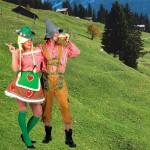 Costume et déguisement de tyrolienne tyrole allemande fete de la biere oktoberfest montage montagnarde sexy rouge et vert suisse