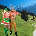 costume et déguisement de tyrole allemand rouge et vert carreaux fete de la biere oktoberfest tyrolien montagne montagnard